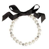 CLOSEOUT - Faux Pearl and Rhinestone Ribbon Necklace