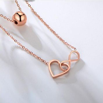 ONETOW Fashionable titanium steel 18K rose gold double double steel beads 8 - heart lucky necklace