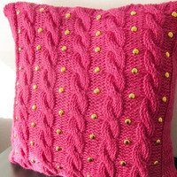 Pink cable knit pillow cover with golden studs, handmade home decor, hot pink decorative pillow, gift idea