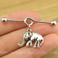 elephant industrial barbell piercing,elephant industrial barbell earring jewelry, vintage elephant ear jewelry