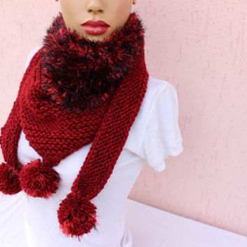 Burgundy Triangle Scarf Hand Knit Cowl Scarf Cozy Winter Shawl EXPRESS SHIPPING
