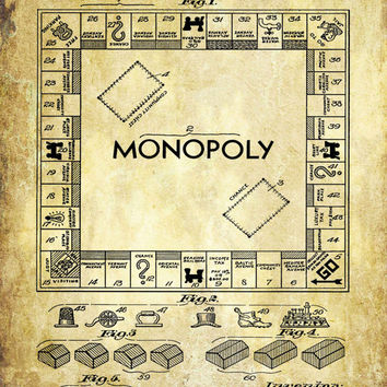 Monopoly Board Game Patent Print - Patent Poster - Monopoly Patent - Faux Vintage