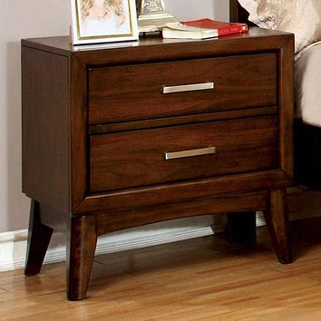 Snyder Transitional Nightstand, Brown Cherry Finish