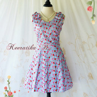 Love Letter - Spring Summer Sundress Heart Print Sundress Blue Party Tea Dress Bridesmaid Dress Couple Bows Dress Custom Made
