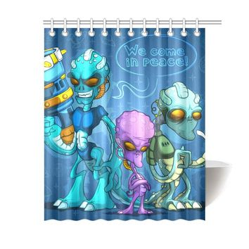 Alien Invaders Polyester Shower Curtain 60x72 inch