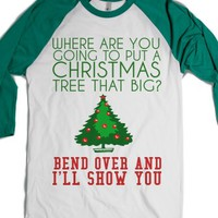 Bend Over Christmas Tree-Unisex White/Evergreen T-Shirt
