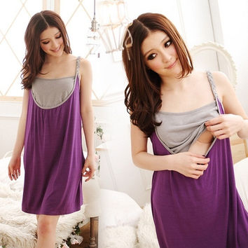 pregnant woman Breast feeding dresses cotton summer maternity dress knee-length sleeveless boat neck women one-piece sale #sclm-ltd = 1946494340