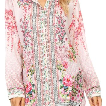 Sakkas Cila Womens Button Down Long Sleeve Silky Shirt Top Colorful and Light