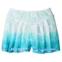 Xhilaration® Juniors Lace Shorts - Blue Dip Dye