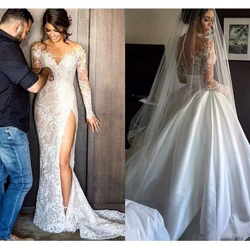 Robe de Mariee Sirene Vintage Mermaid Wedding Dresses 2017 Long Sleeves High Split Bridal Gowns With Detachable Train Casamento