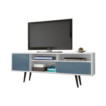 """70.86"""" Mid Century - Modern TV Stand w/ 4 Shelving Spaces & 1 Drawer -White and Aqua Blue"""