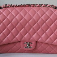 CHANEL CLASSIC PINK DOUBLE-FLAP MAXI QUILTED LAMBSKIN BAG