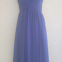 Bill Levkoff designer evening gown - prom dress- long dress- navy blue - size 4 - padded molded bustline cups - sexy  polyester -