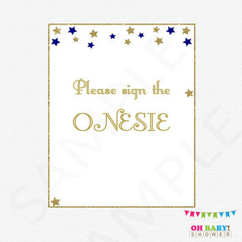 Sign the Onesuit, Twinkle Twinkle Little Star Baby Shower Boy, Navy and Gold Baby Shower, Guestbook Alternative, Please Sign the Onesuit, STNG