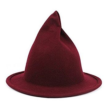 Anndeeson Creative Witch Pointed Spirit Bowler Winter Chapeau Hat - Wine Red