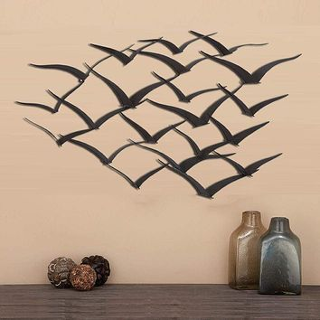 Benzara Metal Flock of Flying Birds Wall Decor,  Black