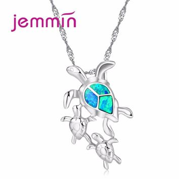 Jemmin 2017 New Particular Jewelry Cute Unique Turtle Pendant Inlaid Blue Fire Opal Fine 925 Sterling Silver Necklace Pendant