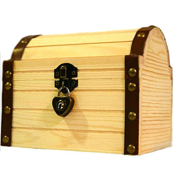 "Kids Wooden Box Secret Stash Treasure Chest With A Working Heart Lock And Pair Of Keys For Kids, 6.24"" X 5.19"" X 5.14"""