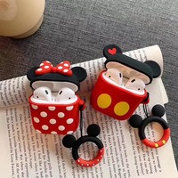 3D Cartoon Cute Mickey Minnie Silicone Case With Anti-lost rope for Airpods Accessories Bluetooth Earphone Protective Cover Bag