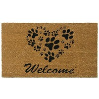 "Rubber-Cal ""Heart-Shaped Paws"" Welcome Mat, 18 by 30-Inch"