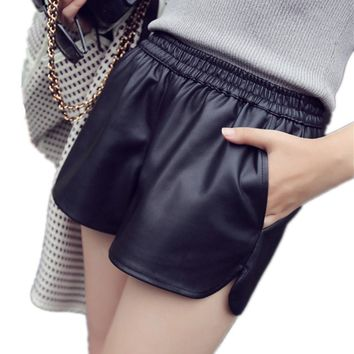 High Quality S-3XL 2017 PU Leather Shorts Women Black Short Pants With Pocket Loose Casual Elastic Waist Shorts Plus Size SUN128