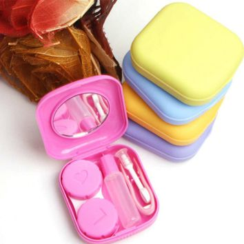 Hot sale contact lenses case for women and men with mirror plastic eyeglasses case contact lens box