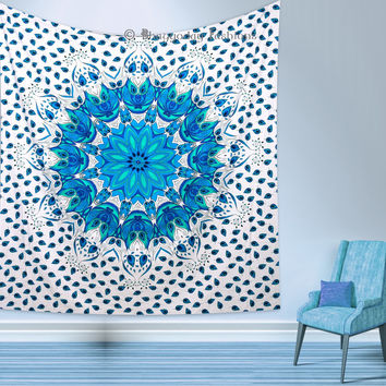 Indian Peacock Feather Tapestry Mandala Throw Wall Hanging Ethnic Bedspread Hippie Decor
