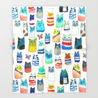 Lots of Watercolor Kitty Cats Throw Blanket by TigaTiga Artworks | Society6