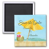 Elegant Tropical Save the Date Summer Wedding Magnet