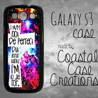 Galaxy Space Background White Cross Jesus Quote Samsung Galaxy S3 Hard Plastic or Rubber Cell Phone Case Cover Original Design