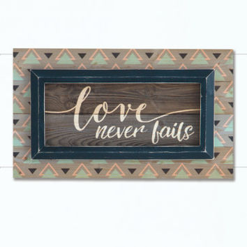 Love Never Fails Mint/Coral Framed Art