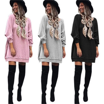 2017 Women Autumn Winter Dress New Style Fashion Dress Sweatshirts Hoodies Dresses Plus Size Sexy Casual Dress Vestidos GV383