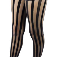 Freakshow Black & Sheer Vertical Stripe Pantyhose Tights
