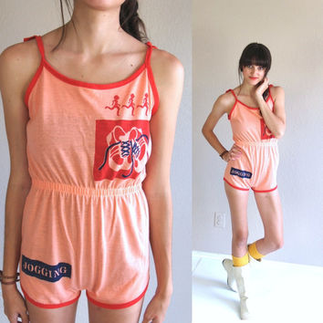 vtg 70s PEACH novelty print JOGGING ROMPER Onesuit xs/s kitschy romper playsuit