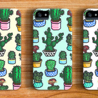 Cute Cactus iPhone 6 Case iPhone 5 Case iPhone 5s Case iPhone 5c case iPhone 4 Case Samsung Galaxy s5 Case iPhone Hard Plastic Case