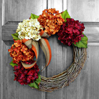 Hydrangea Wreath - Fall Decor - Autumn Hydrangea Wreath - Fall Wreath - Fall Hydrangea Wreath