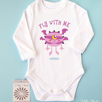 Cute Monster Baby Clothes. Adorable Baby Girl Shirt with Monster Print. Long or Short Sleeve. Halloween Baby Clothes.