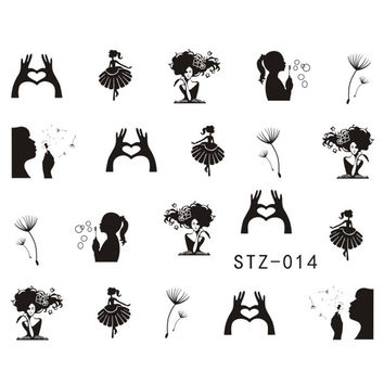 1 Sheets Pretty Designs Nail Sticker Decals NEW Black Colors Dandelion Girl Image Stamping Nail Art Beauty Sticker Tools STZ014