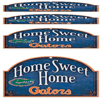 "FLORIDA GATORS HOME SWEET HOME ARCHED WOOD SIGN 10""x11"" BRAND NEW WINCRAFT"