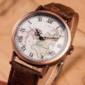 vintage retro world map leather strap watch 2