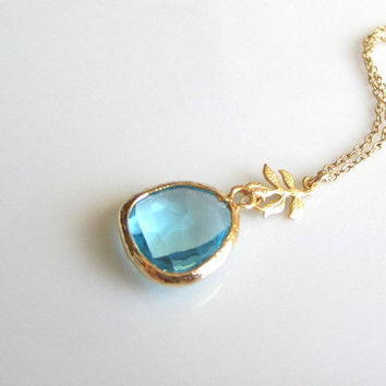 Crystal Blue Necklace, tiny gold leaf, simple everyday wear