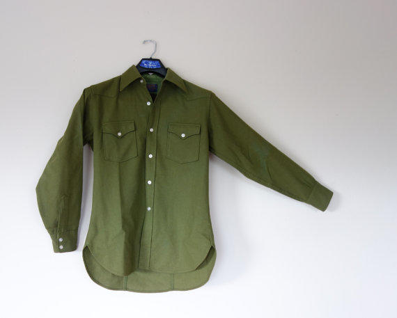 Olive Green Pendleton Shirt W Western From Dottie Mae Vintage