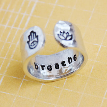 breathe secret message ring, hamsa hand ring, lotus flower ring, secret message ring, yoga ring, customizable ring, ready to ship RA003