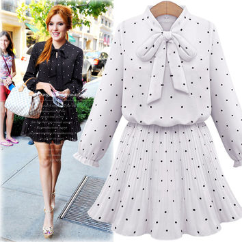 Dotted Bow-Neck Ruffle-Sleeve Drawstring Waist Dress