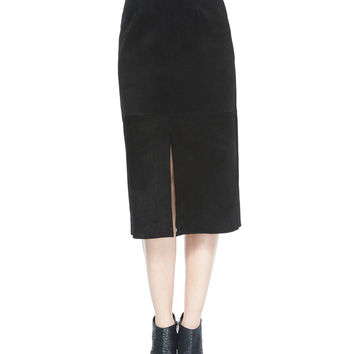 The Ortiz Suede Skirt, Super Black, Size: