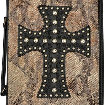 Western Black Bible Cover with Cross and Snake Skin Print
