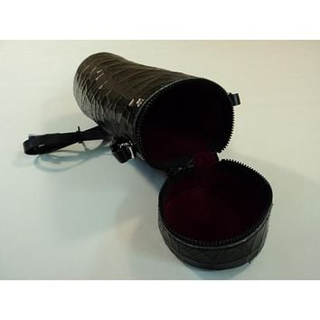Minolta Camera Lens Case Holder With Strap Brown/Red 418-030315 Vintage Leather -- Used