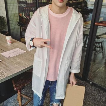 Men's Sunscreen Trench Trench coat 2017 Summer Quick Dry Breathable Sunscreen Korean Men's Thin Trench coat Plus Size ME0515