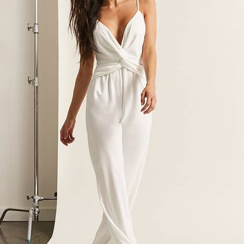 Plunging Twist-Front Jumpsuit