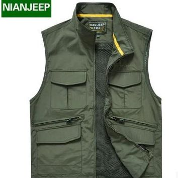 NIAN JEEP Brand Men Casual Vest High quality Travels Vest Tops Multi-pockets Vest Photography Waistcoat